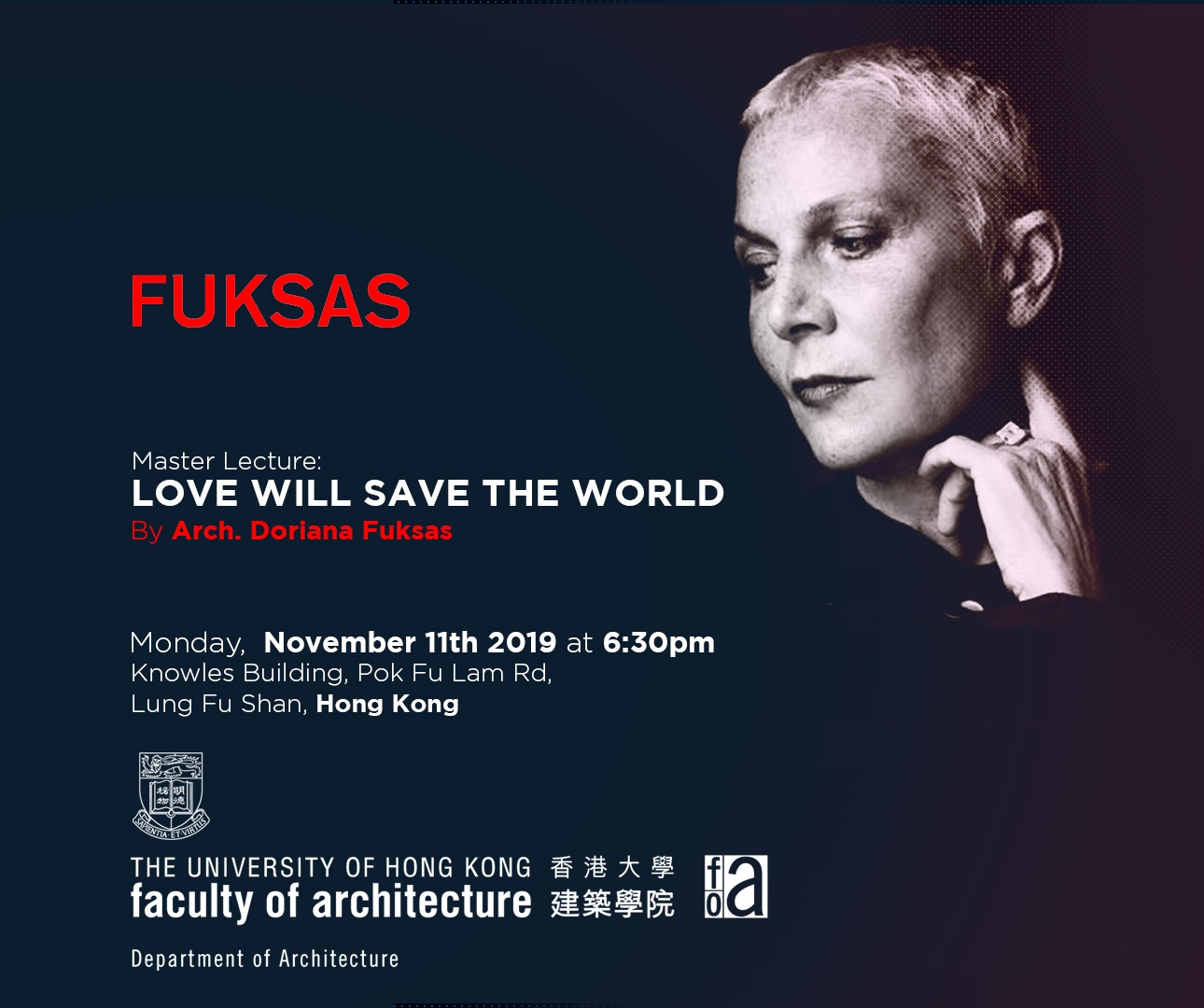 Master Lecture: Love Will Save The World At The University Of Hong Kong